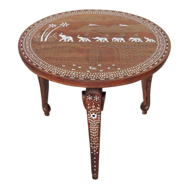 Vintage Inlayed Indian 'Elephant Caravan' Teak Wood & Ebony Round Coffee / Side Table For Sale