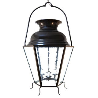 Extra Large 3ft Tall Contemporary Faceted French Farmhouse Lantern With Double-Dome Top For Sale