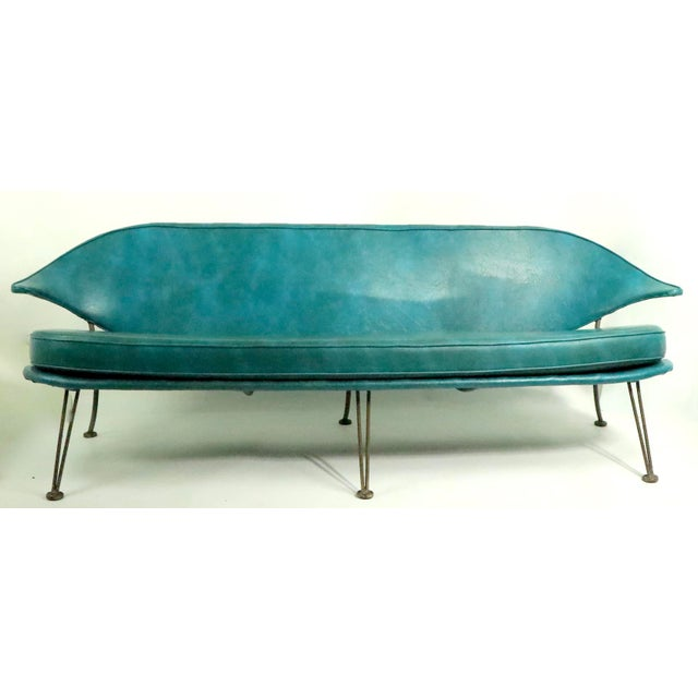 Turquoise Mid Century Wrought Iron and Vinyl Sofa Settee Loveseat For Sale - Image 8 of 11