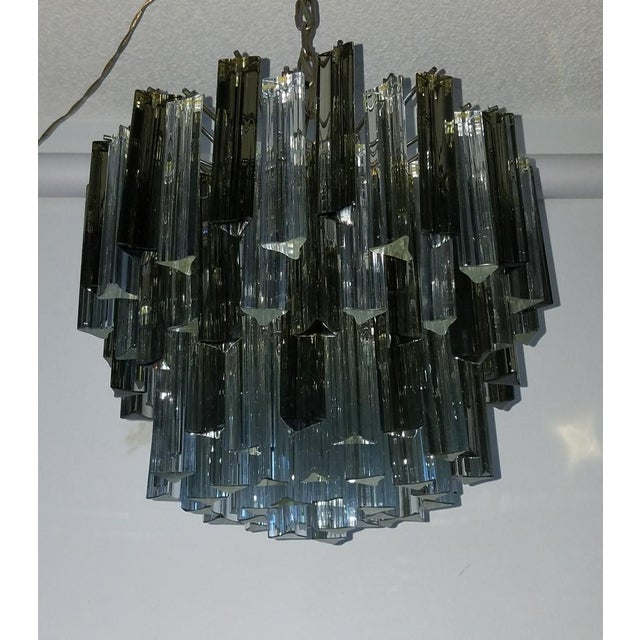 Mid-Century Modern Venini Clear & Dark Glass Chandelier For Sale - Image 10 of 11