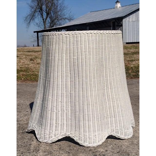 Trompe l'Oeil Draped White Wicker Rattan Ghost Table For Sale - Image 9 of 10