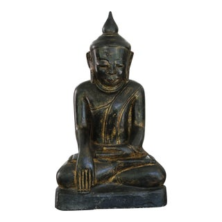 Seated Buddha Painted Sandstone Sculpture For Sale