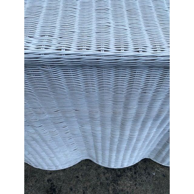 White Trompe-l'Oeil Natural Rattan Console Table For Sale - Image 8 of 12