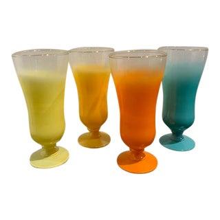 1960's Blendo Pastel Parfait Glasses - Set of 4 For Sale