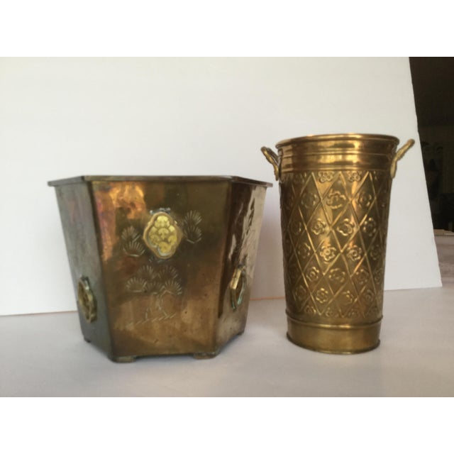 1980s Vintage Brass Planters - A Pair For Sale In Birmingham - Image 6 of 10