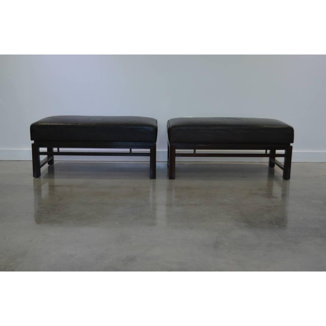 Leather Benches: Edward Wormley for Dunbar 1940s - a Pair For Sale - Image 10 of 10