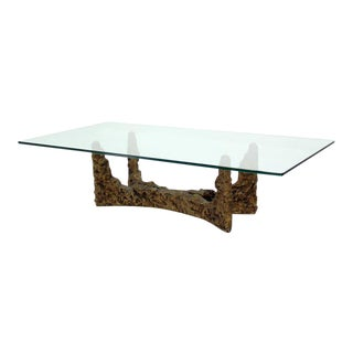 Heavy Cast Metal Brutalist Style Base and Glass-Top Coffee Table by Evans For Sale