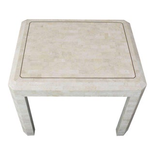 Tessellated Stone Brass Inlay Side Table For Sale