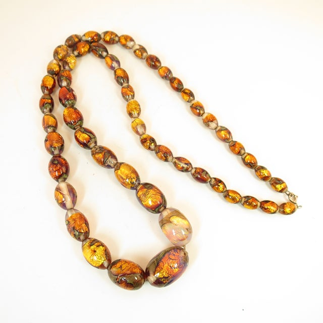 Mediterranean Venetian Fire Opal Foiled Glass Bead Necklace 1950s For Sale - Image 3 of 13