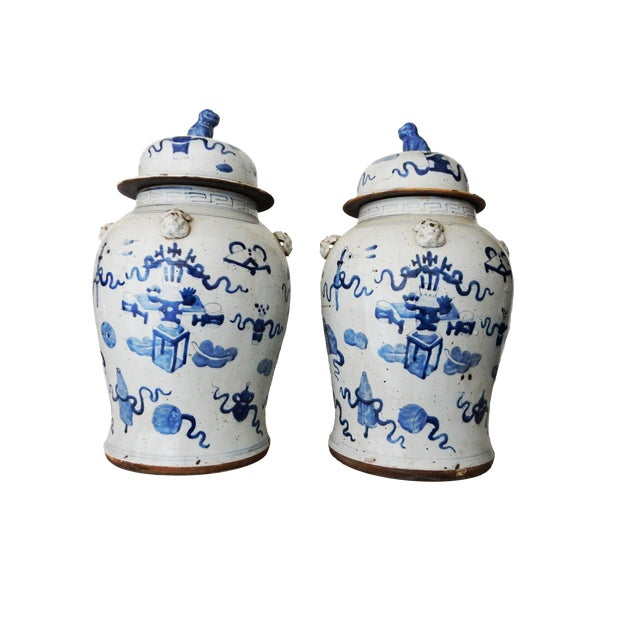 """White Superb Large Chinoiserie Blue & White Ginger Jars - a Pair 23"""" H For Sale - Image 8 of 8"""