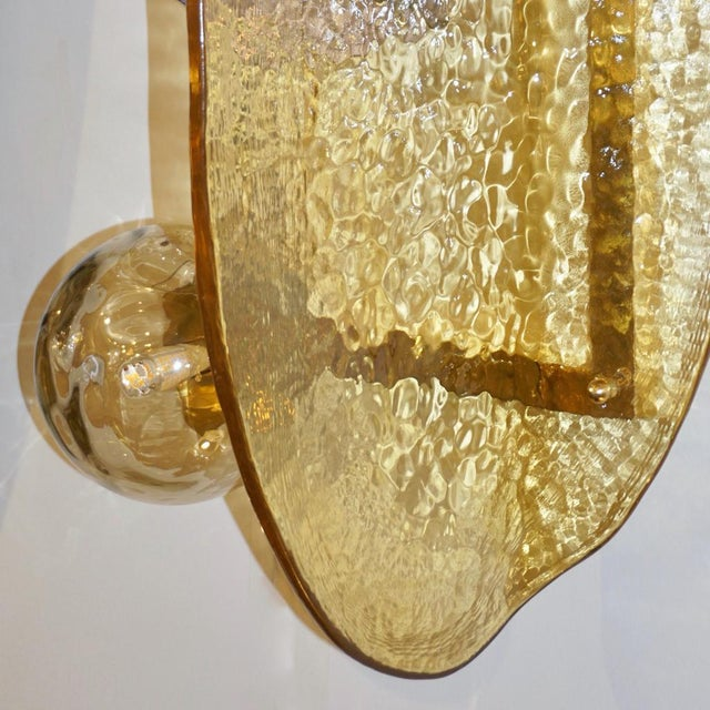 Not Yet Made - Made To Order Contemporary Italian Pink and Amber Murano Glass Gold Brass Sconces - a Pair For Sale - Image 5 of 9