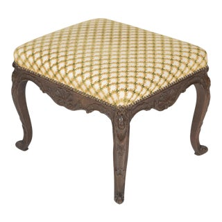 Regence Oak Carved Stool with Nailhead Upholstered Seat For Sale
