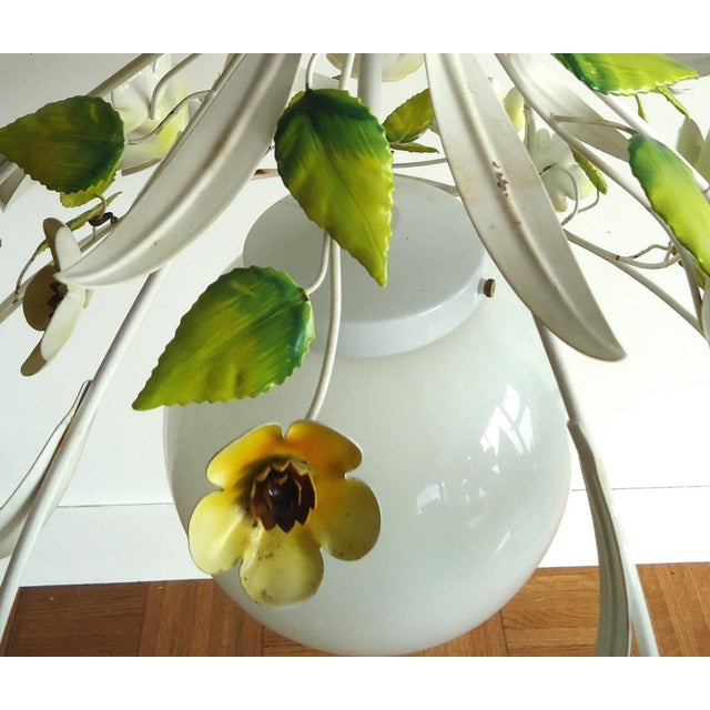 Mid-Century Italian Tole Light Fixture with Yellow Flowers - Image 6 of 6
