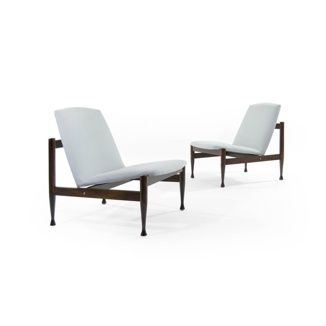 Danish Modern Danish Modern Brass Accented Lounge Chairs - a Pair For Sale - Image 3 of 10