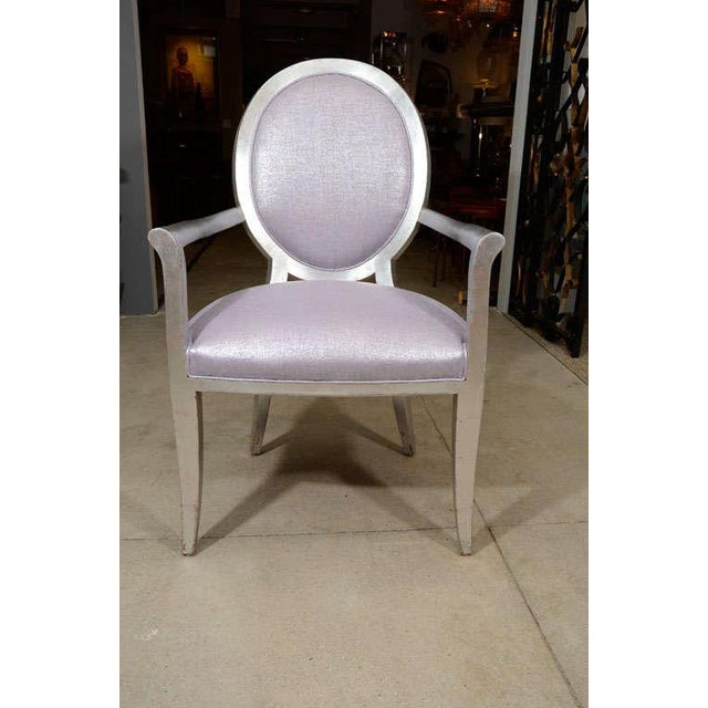 Purple Louis XVI Style Armchairs - A Pair For Sale - Image 8 of 9