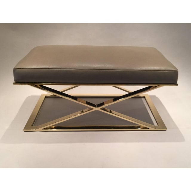 Milo Baughman X-Leg Leather Bench - Image 2 of 7