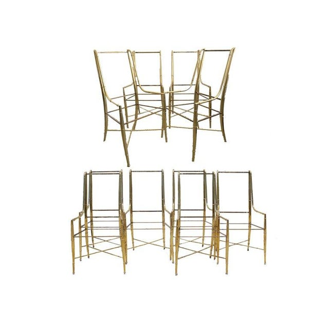 """Mid-Century Modern Weiman/Warren Lloyd for Mastercraft """"Imperial"""" Brass Dining Chairs With White Ultrasuede Upholstery - a Set of 10 For Sale - Image 13 of 13"""