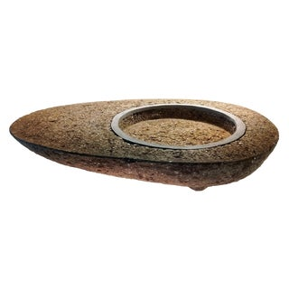 Asian Modern Wabi Sabi Organic Hypertufa Planter For Sale