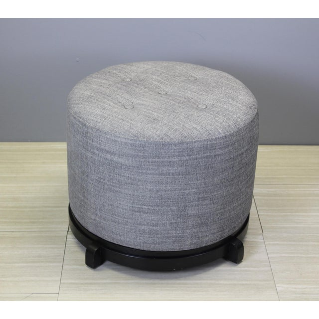 Mid Century Chenille Ottoman on Black Base For Sale - Image 4 of 5