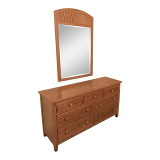 Ethan Allen Country Colors Double Dresser and Fan Mirror For Sale