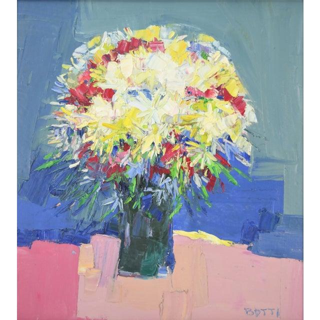 "Italo Botti (American, b. 1923 - d. 2003) Heavy impasto oil painting on canvas. Signed lower right ""Botti"". Framed in..."