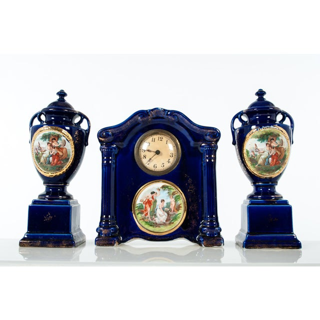 Late 19th Century Late 19th Century Antique English Three-Piece Decorative Clock Set With Two Urns - Set of 3 For Sale - Image 5 of 5
