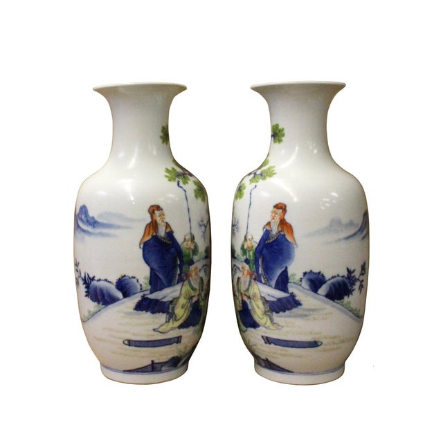 Arts & Crafts Pair Chinese Oriental Ceramic Porcelain White Color People Graphic Vases For Sale - Image 3 of 8