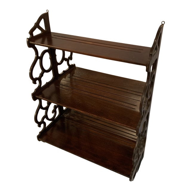 Antique Chippendale Carved Mahogany 3 Tier Wall Hanging Display Rack For Sale