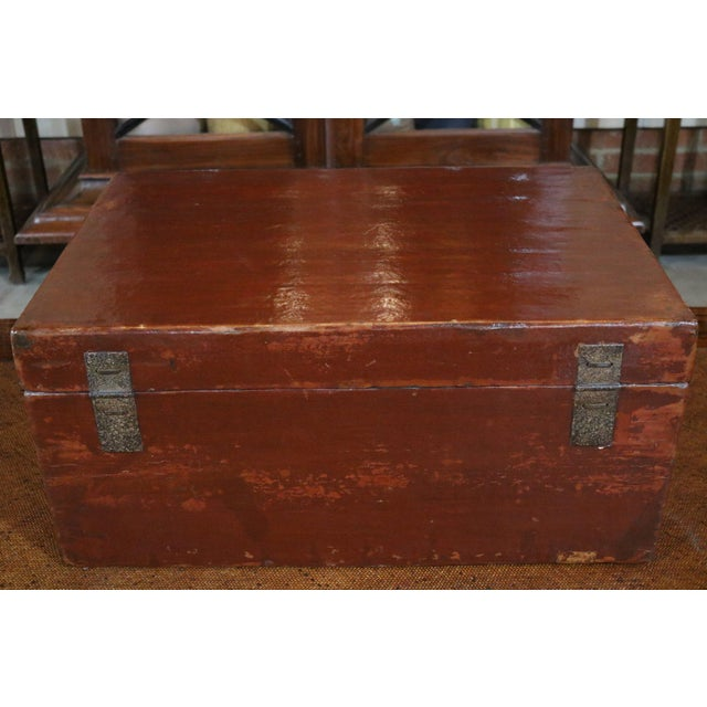 Asian Chinese Red Leather Trunk For Sale - Image 3 of 8