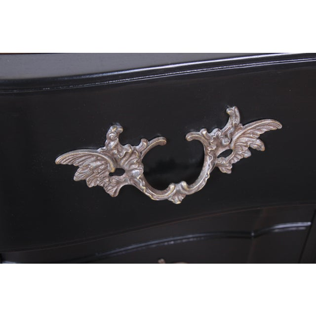 John Widdicomb French Provincial Louis XV Ebonized Dresser, Newly Refinished For Sale - Image 9 of 13