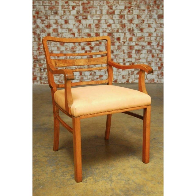 Mid-Century Modern Mid-Century Mahogany and Leather Library Chairs - A Pair For Sale - Image 3 of 9