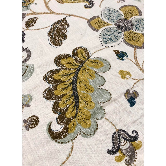 Transitional Robert Allen Spring MIX - Transitional Aloe Mustard and Celadon Botanical Printed Multipurpose Fabric - 27.5 Yards For Sale - Image 3 of 7