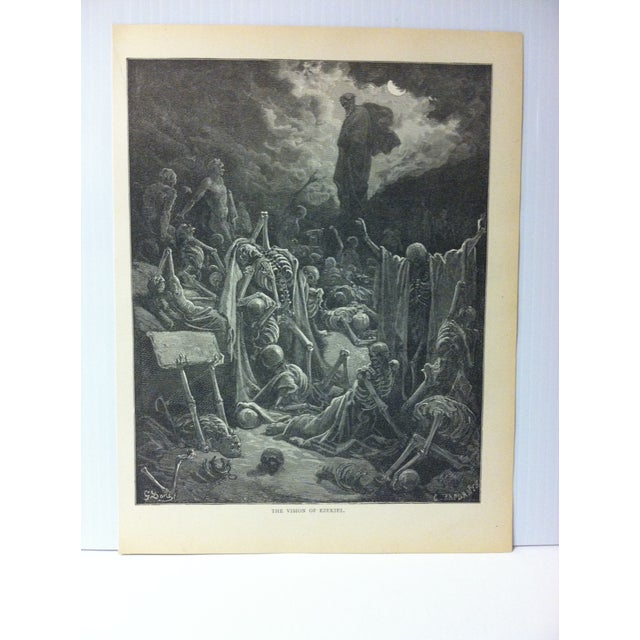 "This is Real Nice Antique Print on Paper Illustrated by Gustave Dore' that is titled ""The Vision of Ezekiel"". The Print..."