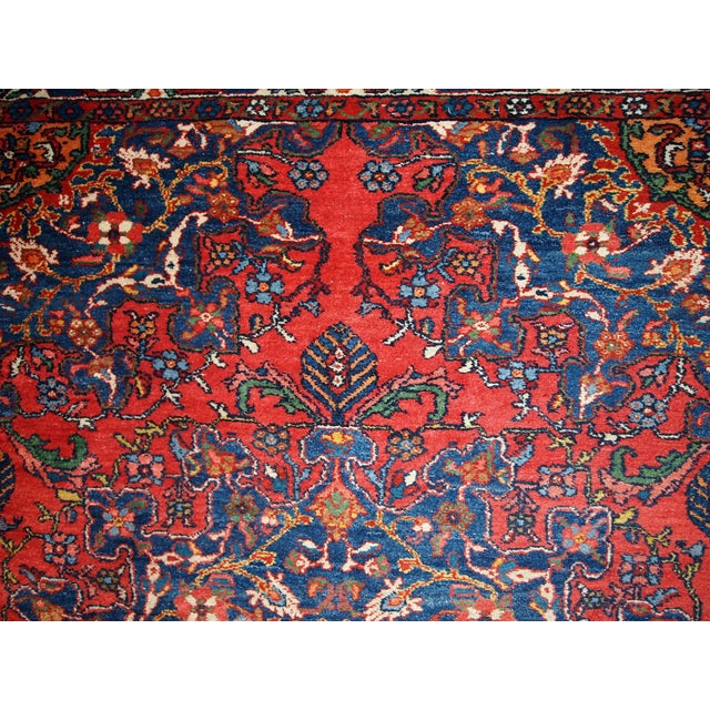 Blue 1970s Hand Made Vintage Persian Mashad Rug - 4′7″ × 6′4″ For Sale - Image 8 of 10