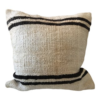 Ivory and Black Stripe Wool Pillow