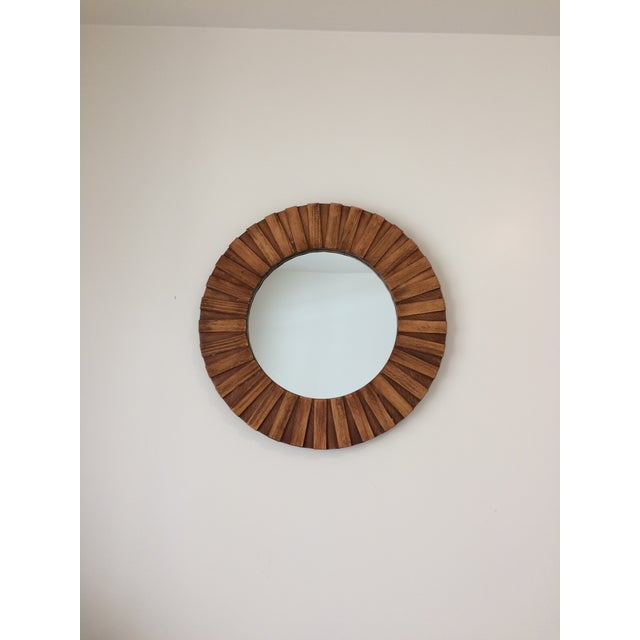 """Boho Chic Round Wall Mirror Teak Color 26"""" For Sale - Image 3 of 11"""