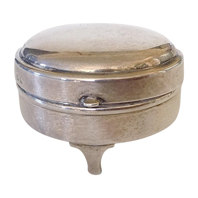 English Sterling Round Box For Sale