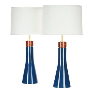 Bauer II Lamps in Niagara Glaze - a Pair For Sale