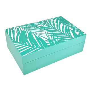 Boho Chic Teal Blue Palm Leaf Decorative Wooden Box For Sale