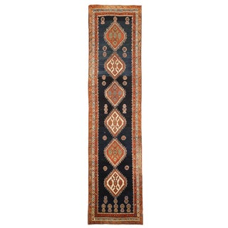 Antique Persian Malayer Runner Rug With Brown & Ivory Medallions For Sale