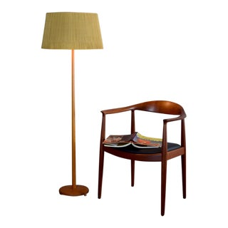 Mid-Century Swedish Teak Floor Lamp With Original Shade For Sale