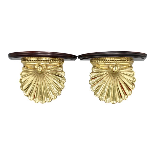Coastal Wood and Brass Clam Shell Wall Shelves - a Pair For Sale