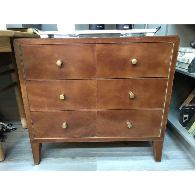 Metal Made Goods Tobacco Leather Nightstand For Sale - Image 7 of 7