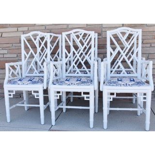 1950s Chinoiserie Faux-Bamboo Chippendale-Style Dining Armchairs - Set of 6 Preview