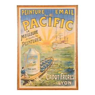 "French Traditional ""Le Pacific"" Enamel Paint Poster For Sale"