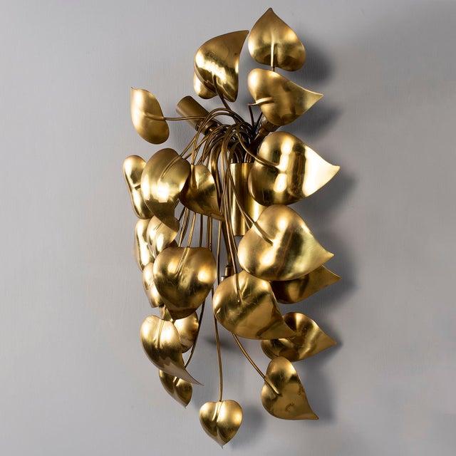 Maison Jansen Cascading Leaves Gilt Metal Light Fixture Attributed to Maison Jansen For Sale - Image 4 of 13