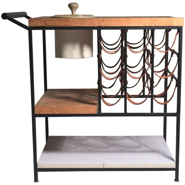 Arthur Umanoff Bar Cart With Wine Rack and Butcher Block For Sale - Image 9 of 9