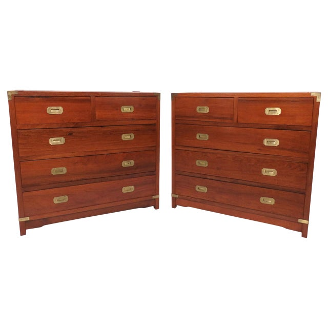 Pair of Mahogany Anglo-Indian Campaign Dressers With Brass Hardware, Circa 1950s For Sale
