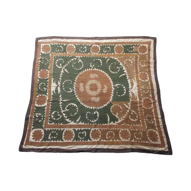Vintage Suzani Textile, Neutral Earth Tones For Sale