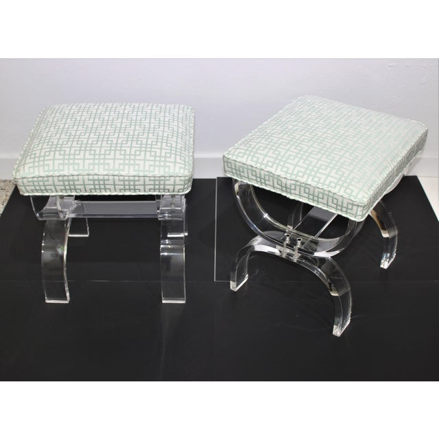 Hollis Jones Style Lucite U Benches Stools 1940s - newly upholstered - a Pair - from a Palm Beach estate
